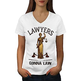 Lawyers Gonna Law Women WhiteV-Neck T-shirt | Wellcoda