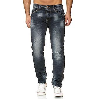Jeans pantalon Denim hommes coupe régulière classique utilisé lavé sculptante ondulée