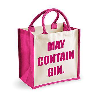 Medium Jute Bag May Contain Gin Pink Bag