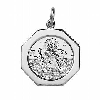 Zilveren 21x21mm zeshoekige St Christopher Pendant