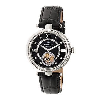 Empress Stella Automatic Semi-Skeleton MOP Leather-Band Watch - Black