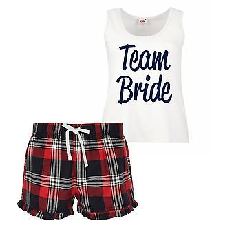 Team Bride Ladies Tartan Frill Short Pyjama Set Red Blue or Green Blue
