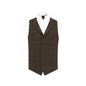 Dobell Mens Windowpane marrón verificación chaleco de Tweed Regular Fit solapa de la muesca