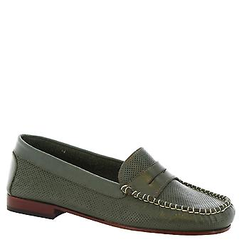 Leonardo Shoes Women's handmade openwork slip-on loafers green calf leather