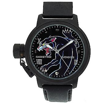 Christian Audigier Black/Blue Panther Gents Genuine Black Leather Watch ETE-105