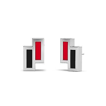 Northeastern University Sterling Silver Asymmetrisk emalj Stud örhängen i rött och svart