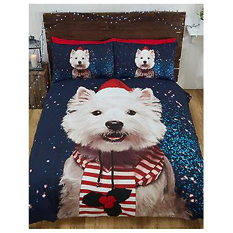 Christmas Westie Dog Duvet Cover and Pillowcase Set