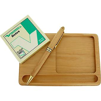 GTP Post Note, Pen & Tray Gift Set All In Maple Wood Finish IMP301M
