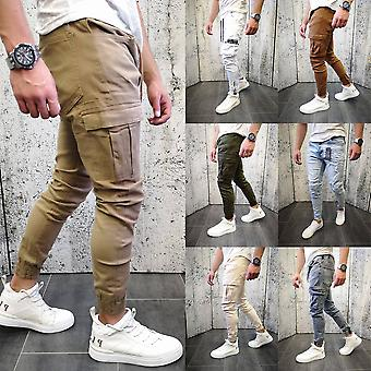 Mens Jeans Denim Pants Cargo Biker Slim Fit Chino Jogging Trousers Casual Bottom