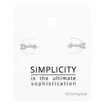 Arrow Ear Studs On Simplicity Card - 925 Sterling Silver Sets - W35899X