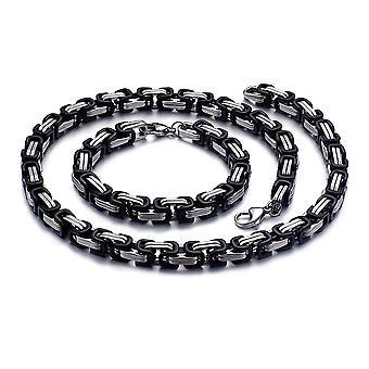 5mm cadena real pulsera de hombre collar de cadena de hombres, 21 cm plata / negro cadenas de acero inoxidable