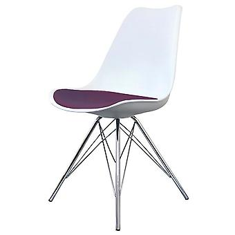 Fusion Living Eiffel Inspired White And Aubergine Purple Plastic Dining Chair With Chrome Metal Legs