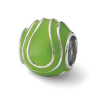 925 plata esterlina pulido acabado Reflexiones esmaltadas bola de tenis encanto colgante colgante regalos de joyería para las mujeres