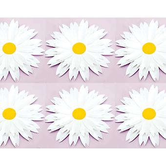 SALE - 6 Diecut Daisies for Adults Craft - White | Paper Floristry Supplies