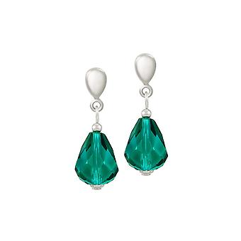 Eternal Collection Sophistication Teal Crystal Silver Tone Drop Clip On Earrings