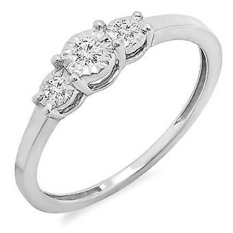 Dazzlingrock Collection 0.20 Carat (ctw) Sterling Silver Round Diamond Ladies 3 Stone Engagement Promise Ring 1/5 CT