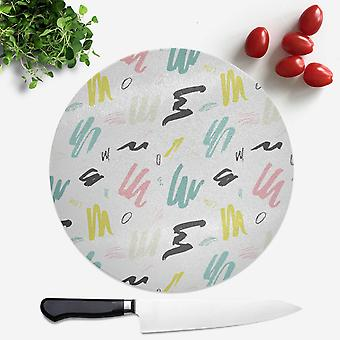 Multi Coloured Scribbles Round Chopping Board