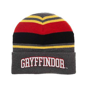 Harry Potter Beanie Hat Gryffindor House Embroidery Logo new Official Striped