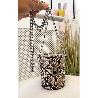 IKRUSH Womens Sasha Mini Cylinder Croc Print Clutch Bag