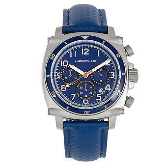Morphic M83 Series Chronograph Leather-Band Watch w/ Date - Silver/Blue