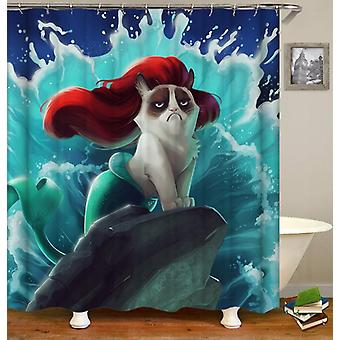 Mermaid Cat Shower Curtain