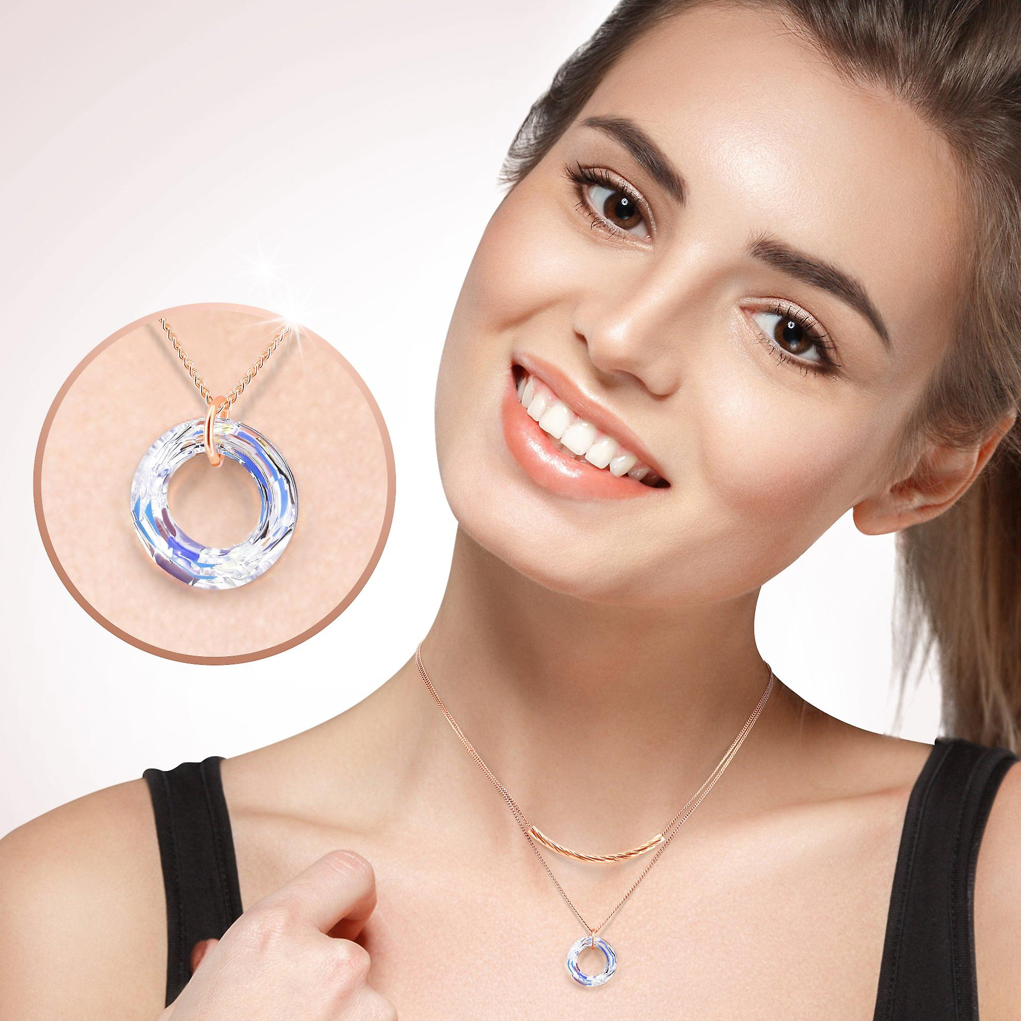 Gold plated necklaces with swarovski crystal. pendant necklace. by 2splendid. gift box included. nnqz004