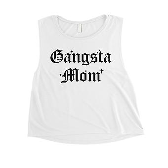Gangsta Mom Womens White Mother's Day Crop Tank Top Christmas Gift