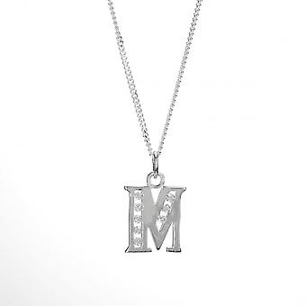 Eternity Sterling Silver Cubic Zirconia Set Initial M And 18'' Chain