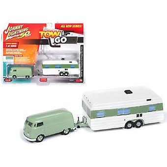 1965 Volkswagen Type 2 Transporter Birch Green with Vintage House Trailer Limited Edition to 4,000 pieces Worldwide Tow & Go Series 1 1/64 Diecast Model Car by Johnny Lightning