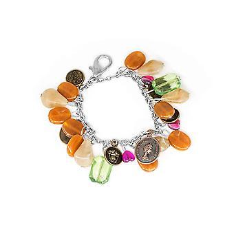 Metall Schlüsselanhänger Charms mit getrommelten Bernstein Edelstein Perlen und Faux Coins