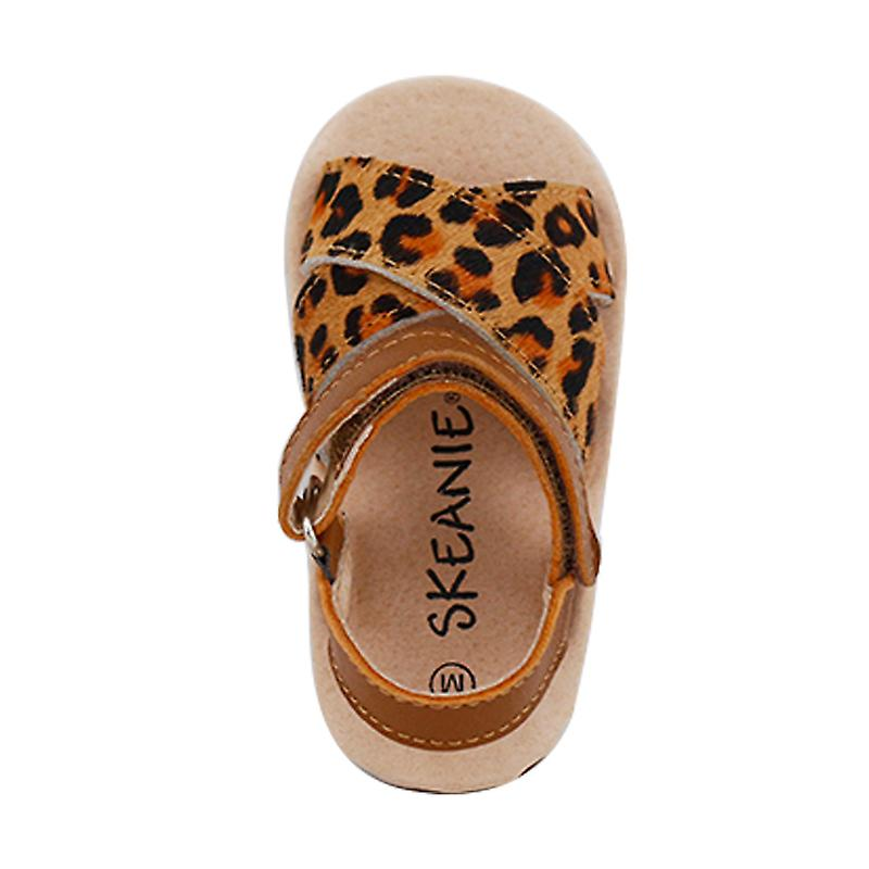 Pre-walker Cross Leather Sandals Leopard
