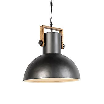 QAZQA Industrial hanging lamp black with mango wood - Mangoes