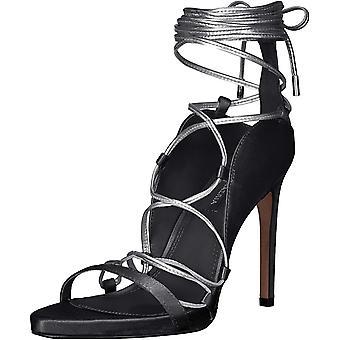 BCBGMAXAZRIA Women's Esme Lace Up Sandal Sandal, black/gunmetal, 7 M US