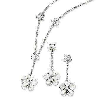 925 Sterling Silver Polished Fancy Lobster Closure Necklace and Earring Set Measures 51x21mm Wide Jewelry Gifts for Wome