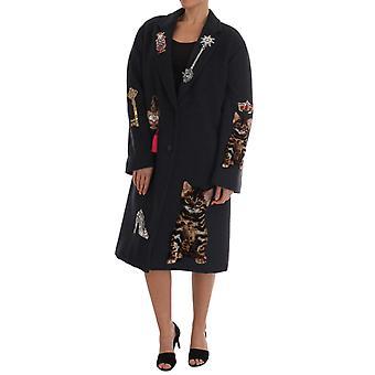 Dolce & Gabbana Gray Wool Cashmere Crystal Coat