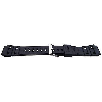 Bracelet de montre en résine noire 19mm (25mm largeur globale) boucle en acier inoxydable