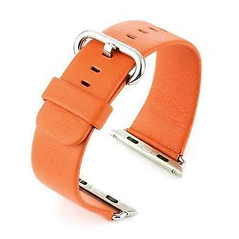 Watch strap made by w&cp to fit apple iwatch watch strap orange leather 38mm and 42mm