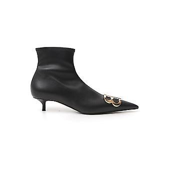 Balenciaga 591092w19n11088 Women's Black Leather Ankle Boots