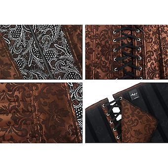 Alivila.Y Fashion Sexy Punk Front Zip Up Corset 2836 With, Brown, Size Small
