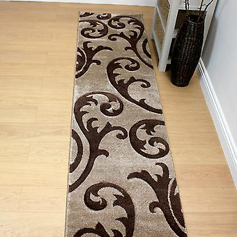 Hand Carved Elude Runners In Brown And Beige