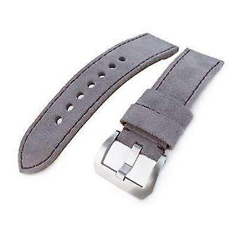 Strap strap de montre en cuir Strapcode 24mm miltat gris clair nubuck bande de montre en cuir, couture brune