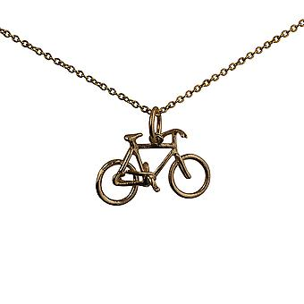 9ct Gold 12x20mm Bicycle Pendant with a cable Chain 20 inches
