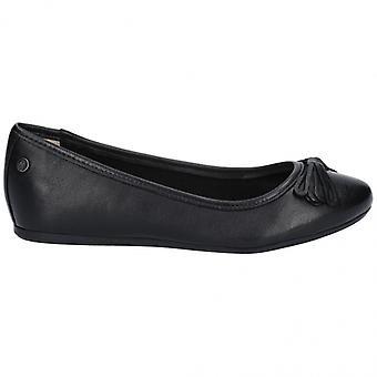 Hush Puppies Heather Bow Ladies Leather Ballerina Shoes Black