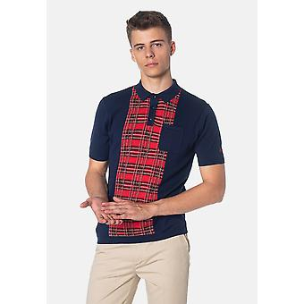 Merc LUNA, Tartan Panel Gebreide Heren's Polo Shirt
