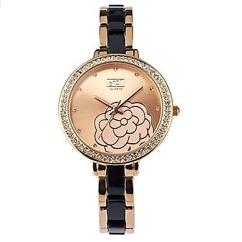 Eton Womens Rose Gold Tone/Preto plástico link pulseira Fashion Watch Floral Dial