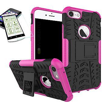 Hybride Etui 2 pièce rose pour Apple iPhone 8 et 7 4,7 pouces + trempé couvercle verre sac