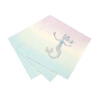 Meerjungfrau Pastell Papier Servietten Packung 16 Meerjungfrau-Motto-Parties