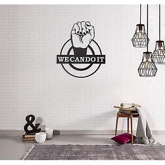 Wanddekoration Phrasen Schwarz Farbe Stahl 42x0.15x50 cm