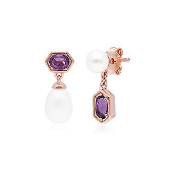 Moderne Perle & Amethyst übereinstimmende Tropfen Ohrringe in Rose vergoldet Sterling Silber 270E030410925