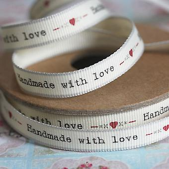 'Handmade With Love' With Hearts And Kisses Ribbon 3 Metres